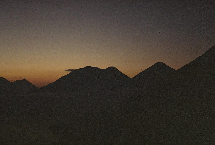 Sunrise with a view on the volcano chain
