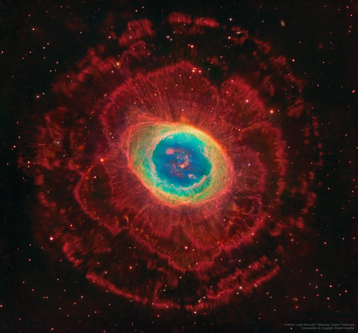 Rings Around the Ring Nebula by Hubble, Large Binocular Telescope, Subaru Telescope; Composition & Copyright: Robert Gendler