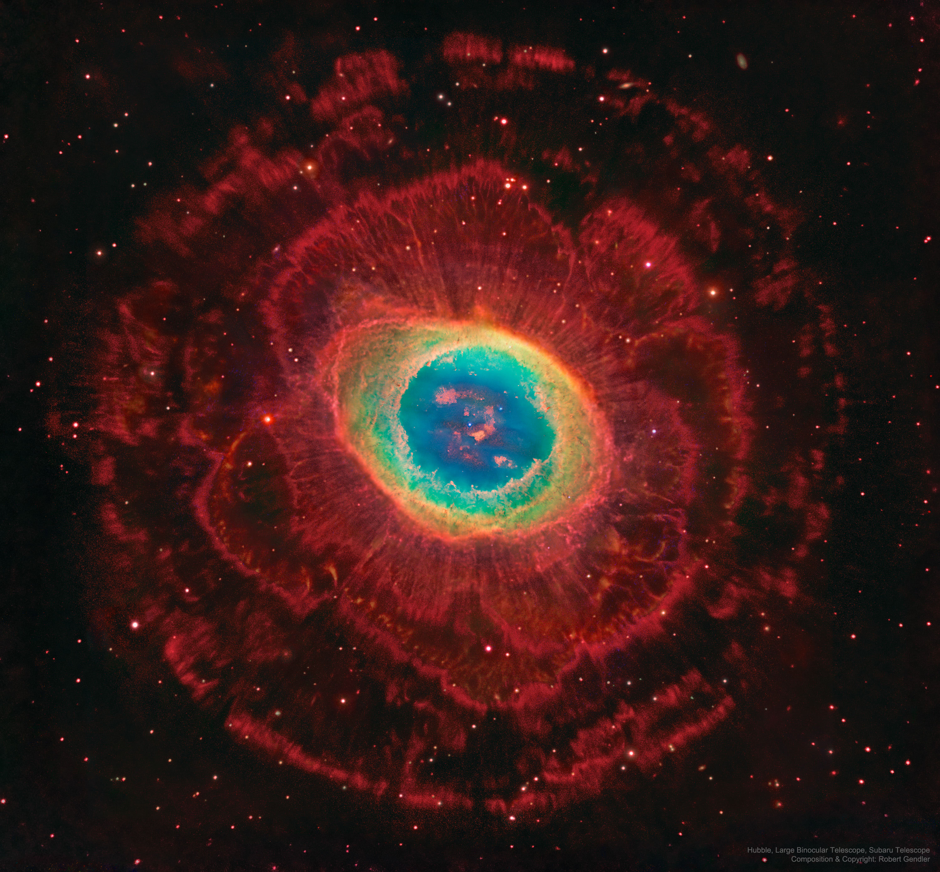 Rings Around the Ring Nebula by Hubble, Large Binocular Telescope, Subaru Telescope; Composition & Copyright: Robert Gendler